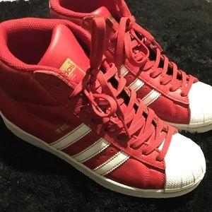 Red/White Hightop Adidas